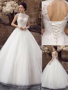 Vestido de noiva Vestido de baile Para Casamento Lace Applique Aberto Costa High Collar Lantejoulas Rhinestones Até o Chão Para Casamento