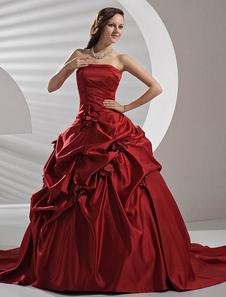 Vestido de novia rojo de satén de línea A sin tirantes de cola larga