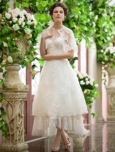 Мода слоновой кости-Line блестками назначения асимметричный свадебное платье Milanoo