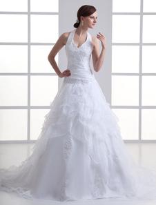 Vestido de casamento nupcial  Branco de Organza de perolização da cabeçada