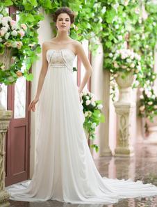 Vestido de novia de chifón de color marfil sin tirantes con bordado para playas Milanoo