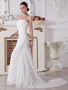 Свадебное платье из шифона модное шнуровка со шлейфом A-силуэт