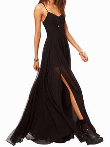 Black Maxi Vestido Straps Alta Split Side Sexy Vestido Chiffon