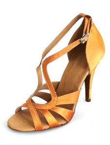 Sapatos de latim cetim lindo dedo aberto