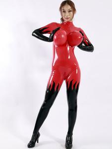 Traje de Vermelho Unisex Latex macacão sexy (mama inflável) Halloween