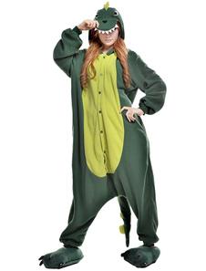 Kigurumi Pijamas Dinosaurio Onesie Para Adulto Unisex Fleece Falnnel Verde Animal Disfraz Halloween