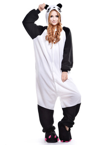 Disfraz Carnaval Pijama Kigurumi Panda Onesie Para los Adultos 2020 fleeceFlannel Blanco-negro Animal Costume Halloween Carnaval