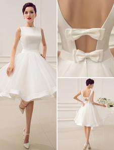 Короткое свадебное платье винтажное свадебное платье 1950-х годов Bateau без рукавов свадебное платье Milanoo