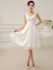 العاج فستان الزفاف بطول الركبة الأشرطة عارية الذراعين الدانتيل ثوب الزفاف ميلانو