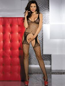 Bodystockings comodi poliestere senza maniche recinto netto nero donna