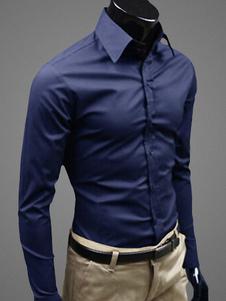 メンズシャツ,ビジネスカジュアル 長袖 単色 新作 シェイプアップ 高品質