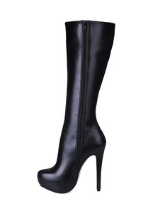 أحذية نسائية سوداء منصة جولة تو زمم أحذية عالية الكعب الركبة أحذية عالية 2020