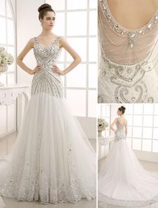 Vestido de noiva com decote em v Backless sereia com a rede Milanoo