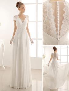 Свадебное платье с кружевами в Длина пола Milanoo
