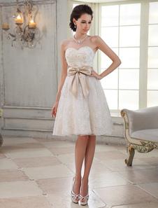 Vestido de casamento nupcial marfim Joelho-comprimento Sweetheart pescoço Sequin-line  Milanoo