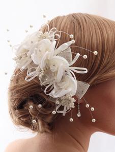 Acessórios de cabelo branco casamento cabelo acessórios pérola flor