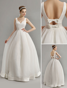 Vestido de noiva vintage inspirado mergulho V pescoço com laço embelezado corte lá atrás Milanoo