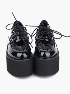 Прекрасный черный круглый мыс PU кожа стрит носить обувь Лолита платформы