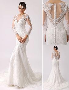 Manga longa ilusão pescoço vestido de noiva sereia Milanoo