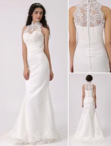 Старинный вдохновил иллюзия шеи шифона свадебное платье с кружевной оверлея Milanoo