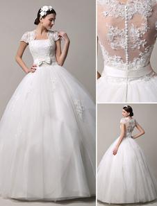 Короткий рукав кружево принцесса свадебное платье с многоуровневой тюль юбки Milanoo