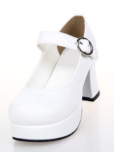 Lolita doce branco plataforma PU Lolita sapatos de salto
