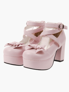 ロリータ靴 ピンク ラウンドトゥ チャンキーヒール アンクルストラップ コスプレ