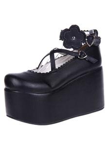 Черный Лолита обувь платформы пу Лолита Flatform