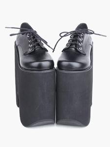 Готическая Лолита черные туфли на высокой платформе  8.7 дюймовый каблук с шнуркой