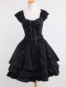 Хлопок черное Лолита платье OP на шнуровке 3 слоя подол