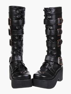 Gothic Lolita nero stivali piattaforma scarpe fibbie lacci delle scarpe