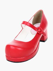 Сладкий коренастый пятки Лолита обувь площади пятки платформы круглые нижний стреп