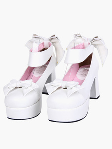 Único arco branco PU alto couro sapatos de Lolita de dedo do pé redondo