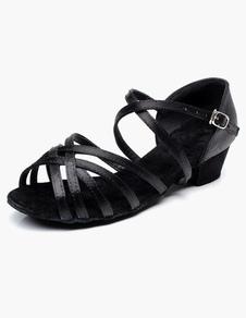 Sapatos de dança latina Sapatos de salão preto Sapatos de dança aberta Criss Cross para sapatilhas