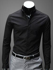 Camisa de mistura de algodão de mangas compridas colar Turndown