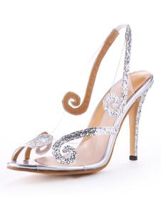 النساء أحذية عالية الكعب الصنادل بريق زقزقة اصبع القدم أحذية الزفاف سلينغباكس 2020