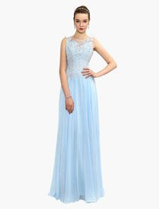 Vestido de noche de chifón Azul claro con escote halter de encaje