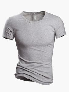 T-Shirt Dos Homens Casual Com Decote Em V Curto De Algodão De Manga Curta T-Shirt