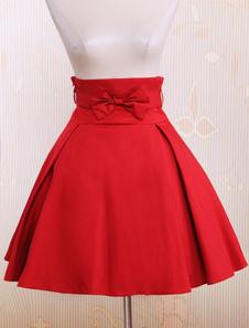 Gonna a ruota di Lolita rossa classica tradizionale in cotone