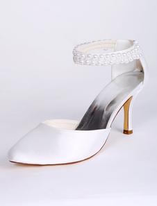 أحذية الزفاف الأبيض من الساتان وأشار اصبع القدم لؤلؤة التفاصيل حزام الكاحل أحذية الزفاف الساتان الكعب العالي 2020
