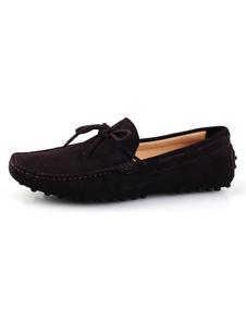 Comodo cuoio legato scarpe mocassino uomo punta tonda
