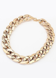 Mulheres Gold Choker Metal Chain Choker Necklace