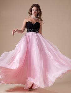 パーティードレス ピンク ボールガウンライン スイートハートネック フロアレングス ノースリーブ ビーズ  ウェディング ゲスト ドレス