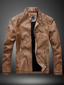 Giacca da moto 2020  in pelle marrone con cerniera