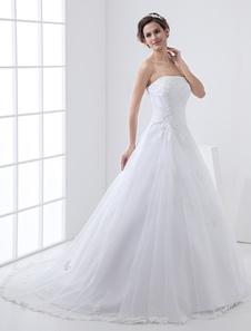 Белые свадебные платья без бретелек свадебное платье кружева Бисероплетение стороны Драпированные свадебное платье с поездом
