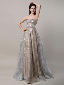 Glitter lungo Champagne Sweetheart paillettes palla abito con strass