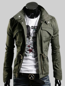 Men Military Jacket Hunter Green Stand Collar Casaco Casual de manga comprida