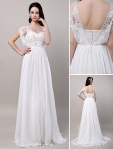 Boho casamento vestido borboleta Sweatheart rendas mangas Chiffon