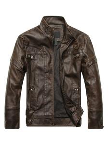 Chaqueta de cuero de hombre 2020 chaqueta de primavera de moto cuello levantado manga larga con cremalleras