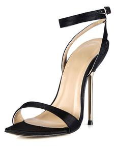 Pulsanti neri tacco a spillo imitarono seta moda sandali abito